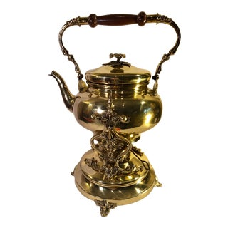 1900s Traditional Articulating Brass Tea Pot With Stand - 2 Pieces For Sale