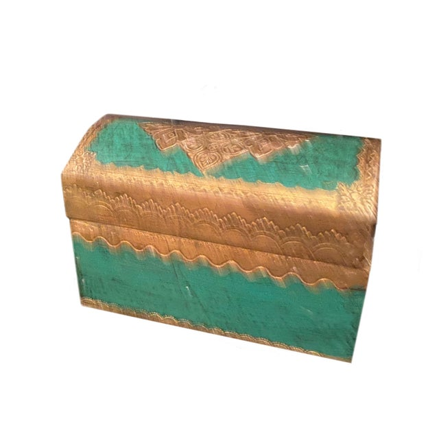 Italian gilt gesso wood Florentine domed top box in vibrant green and gold. From Italy.