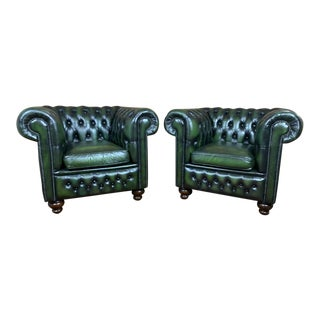 Vintage Mid-Century English Green Leather Chesterfield Club Chairs – a Pair For Sale