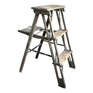 19th Century Distressed Green Paint Step Ladder For Sale