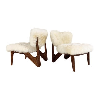 Adrian Pearsall Style Sculptural Chairs Restored in Brazilian Sheepskin - Pair For Sale