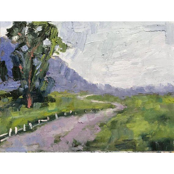 """2010s """"Fence in the Road"""" Oil Landscape Painting For Sale - Image 5 of 7"""