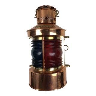 Vintage Copper Ships Red and Green Glass Lantern by DHR Holland For Sale