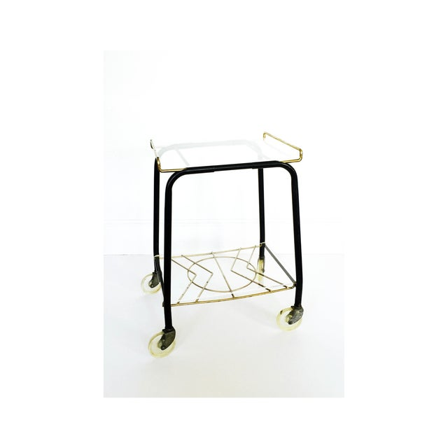 Mid-Century Black & Gold Atomic Bar Cart - Image 2 of 6