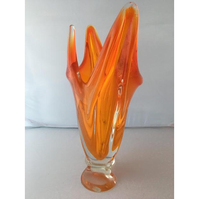 Murano Orange Art Glass Finger Vase Chairish