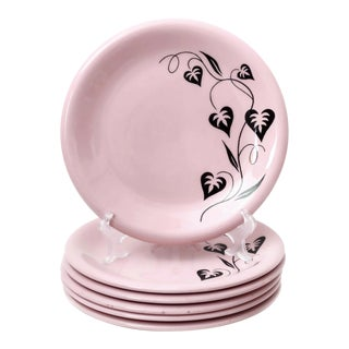 1950s Russel Wright Pink and Black Mid-Century Modern Large Plates - Set of 6 For Sale