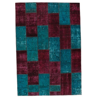 """Pasargad Persian Patch-Work Hand Knotted Area Rug - 6'9"""" x 9'9"""" For Sale"""