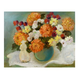 1970s Impressionist Floral Still Life With Blue Vase Painting