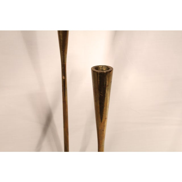 """Danish Modern Illums Bolighus """"Serpentine"""" Brass Candle Holders For Sale - Image 3 of 4"""