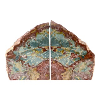 Oversize Aqua Jasper Bookends - A Pair