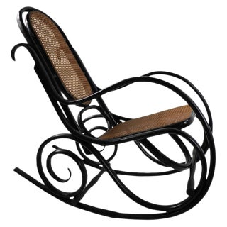 Thonet Style Rocking Chair in Black Frame With Natural Cane Seat For Sale