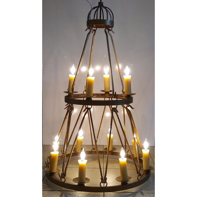 Industrial Late 20th Century Vintage Handmade Wrought Iron Two Tier Chandelier For Sale - Image 3 of 12