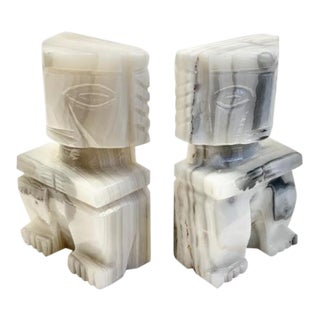 Mid 20th Century Marble Aztec Style Bookends - a Pair For Sale