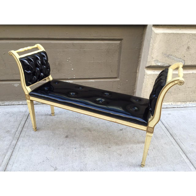 Hollywood Regency Painted Louis XIV Style Tufted Window Bench For Sale - Image 3 of 6
