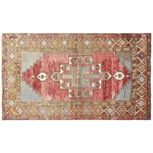 """1960s Turkish Oushak Rug 3'2"""" X 5'5"""" For Sale"""