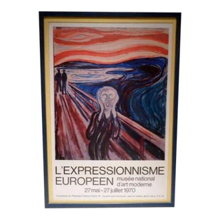 C1970 Edvard Munch the Scream Musee National d'Art Moderne Art Exhibition Poster For Sale