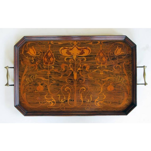 Art Nouveau Finely Inlaid French Art Nouveau Rosewood Rectangular Tray with Canted Corners For Sale - Image 3 of 3