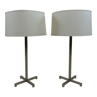 Brawny Stainless Steel Table Lamps by Nessen Studios Ny - a Pair For Sale