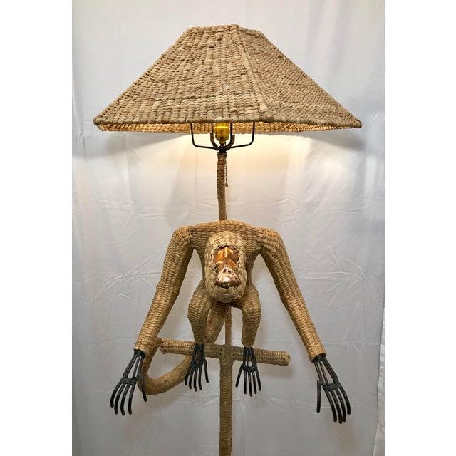 Tan 1970s Mario Lopez Torres Mid-Century Wicker Monkey Floor Lamp For Sale - Image 8 of 13