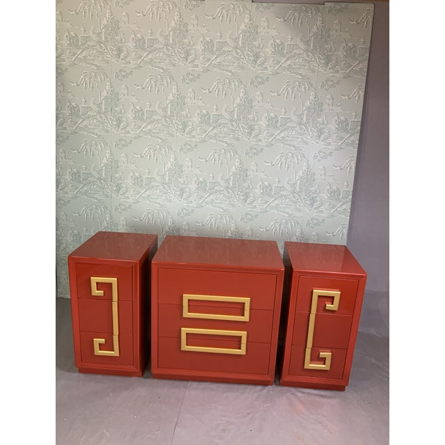 1970s 1970's Greek Key Mid Century Cabinets-Set of 3 For Sale - Image 5 of 6