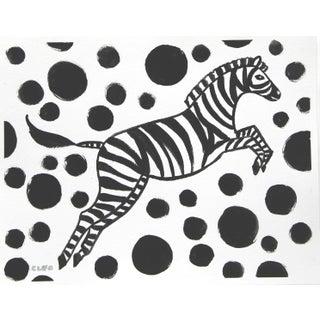 Pop Art Zebra Black & White Zebra Painting by Cleo Plowden For Sale