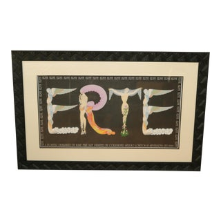 Vintage Framed Erte Name Poster by Coriander Studios London, 1983 For Sale