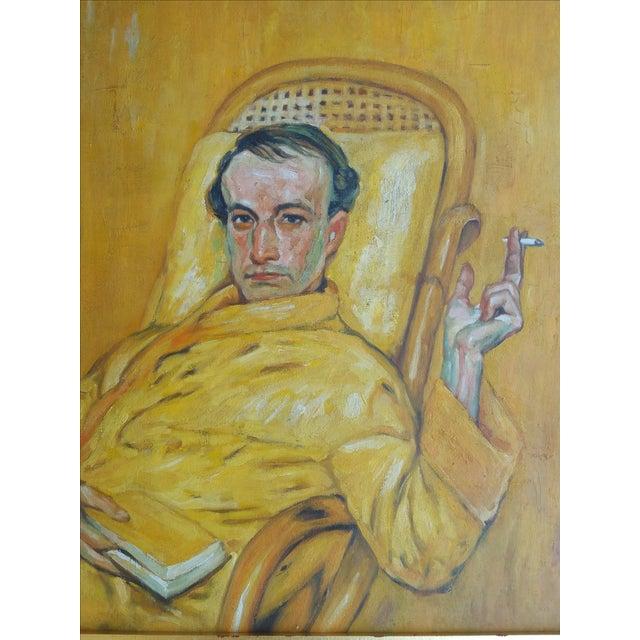 Vintage Smoking Man Oil Painting - Image 3 of 5