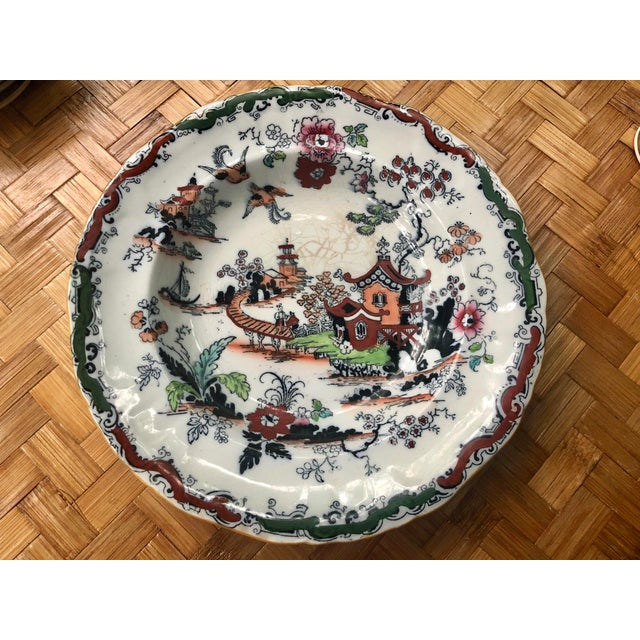 Antique Ashworth Bros. hand-painted ironstone transfer chinoiserie plate or bowl. Polychrome technique. Late 1800's. Has...