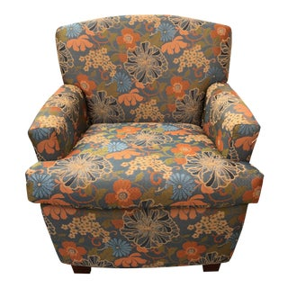 Mid-Century Vintage Floral Armchair For Sale