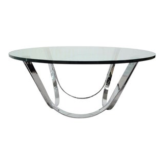 "Vintage 42"" Round Mid Century Modern Roger Sprunger Dunbar Chrome Glass Coffee Table For Sale"