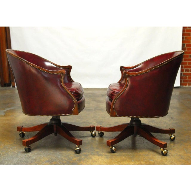 Baker Leather Barrel Back Office Chairs - A Pair - Image 4 of 6