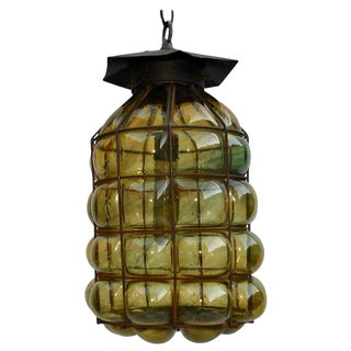 1940s Light With Hand Blown Glass Into an Iron Frame For Sale