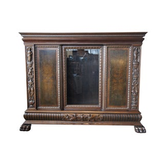 20th Century Renaissance Revival Walnut Carved Figural Knockdown Bookcase Armoire Preview
