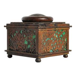 Tiffany Studios Bronze & Green Glass Grapevine Inkwell For Sale
