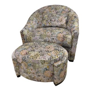 The Kuester Chair and Ottoman Set From Ej Victor For Sale
