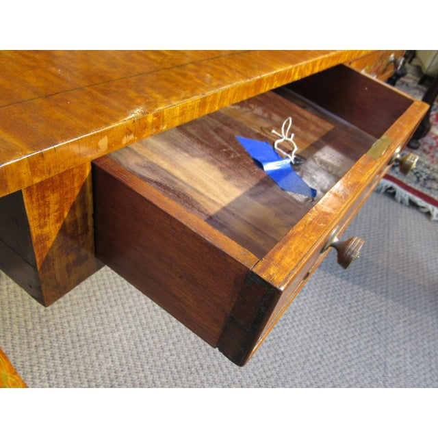 19th Century Adams Style Handpainted Satinwood Two Drawer Sofa Table For Sale - Image 9 of 13