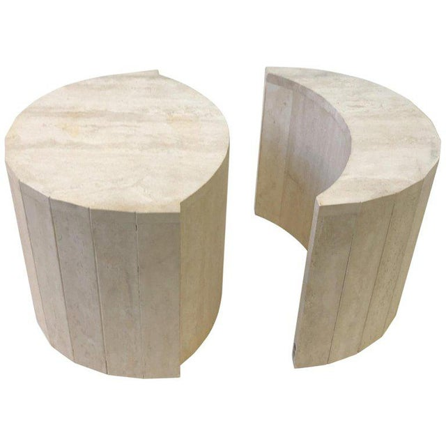 Oval Italian Travertine Cocktail Table by Willy Rizzo For Sale - Image 11 of 11