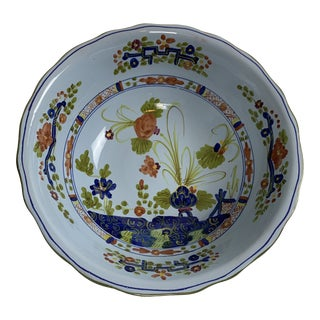 Mid 20th Century Blue Carnation Faience Bowl For Sale