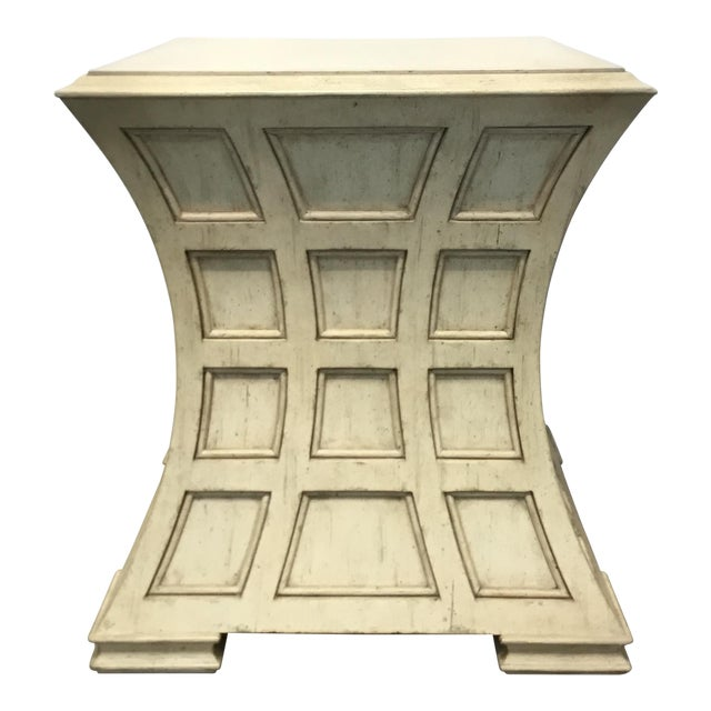Pearson Modern Wood Ivory Panels Side Table For Sale