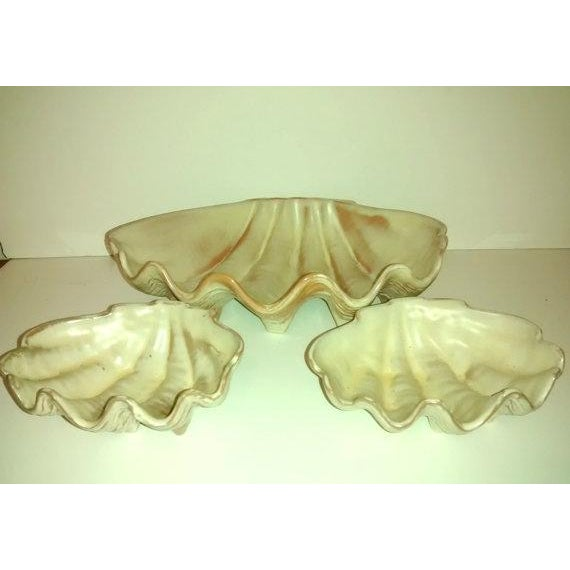 Mid-Century Frankoma Clam Shell Bowls Tiki For Sale - Image 4 of 6