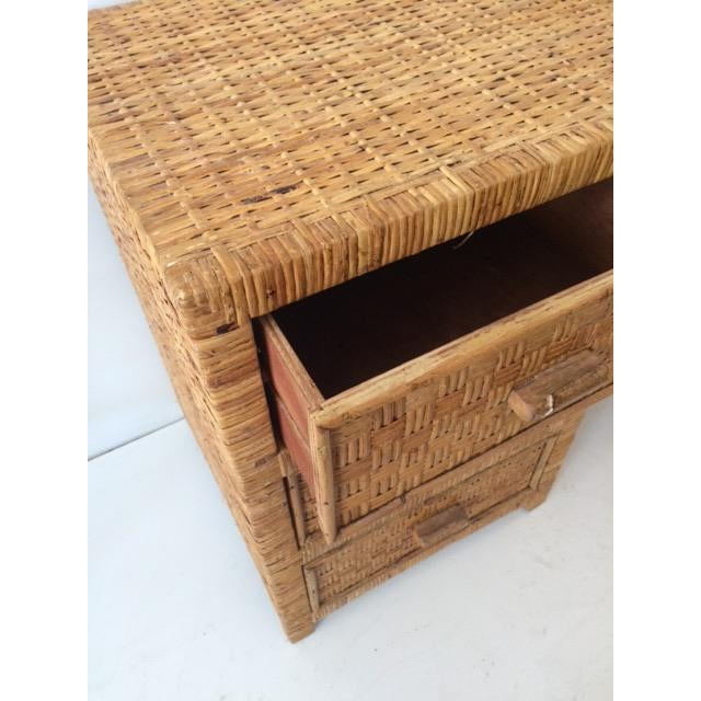 Rattan 1980s Boho Chic Bielecky Brothers Writing Desk For Sale - Image 7 of 13