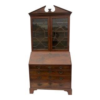 English Mahogany Slant Front Secretarie Bookcase Desk For Sale