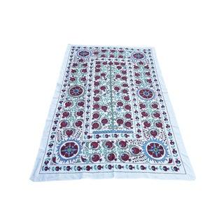 Handmade Pomegranate Tree Desing Crochet Suzani Tapestry For Sale