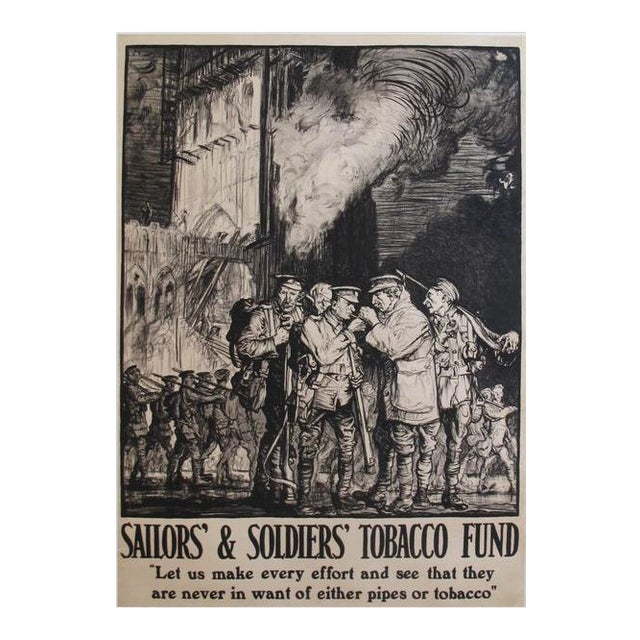 1915 Original British Tobacco Poster, Soldiers and Sailors Tobacco Fund For Sale