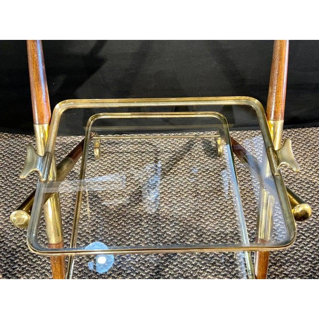 Mid-Century Modern Bar Cart, Teak and Brass For Sale - Image 11 of 13