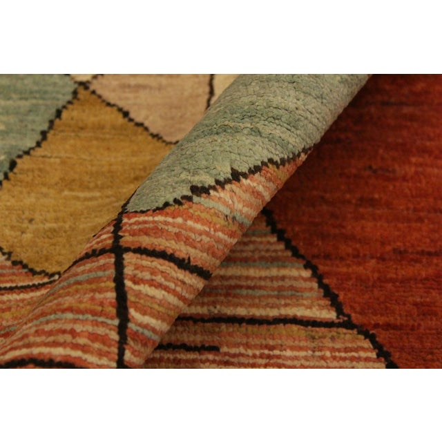 Asian Gabbeh Peshawar Gerry Orange/Gold Hand-Knotted Wool Rug -3'0 X 4'5 For Sale - Image 3 of 8