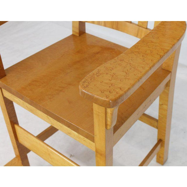 Modern Solid Brid's-Eye Maple High Pool Chairs Bar Stools- A Pair For Sale - Image 10 of 13