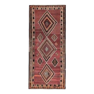 Modern Turkish Kilim Rug With Black & Red Tribal Diamonds on Orange Field For Sale
