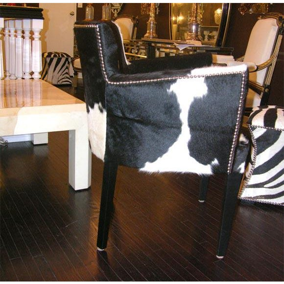 Pair of Custom Black and White Spotted Cowhide Deco Chairs For Sale In New York - Image 6 of 8