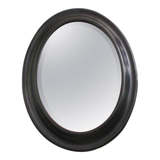 19th Century Oval Convex Framed Mirror With Bevel For Sale